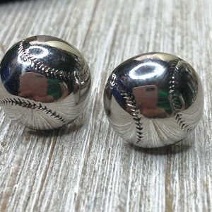 Vintage Hickok Baseball Silver Tone Cuff Links